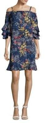 Gabby Skye Plus Off-the-Shoulder Floral Ruffle Dress