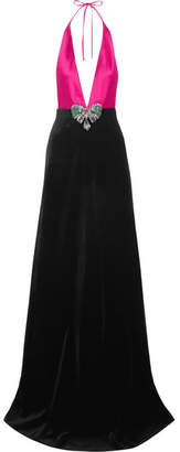 Embellished Cotton-blend Velvet And Silk-satin Halterneck Gown - Fuchsia