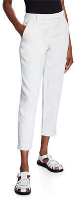 The Row Clark Linen Slim-Leg Ankle Pants