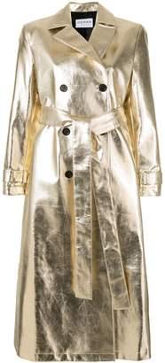 Osman double-breasted metallic trench coat