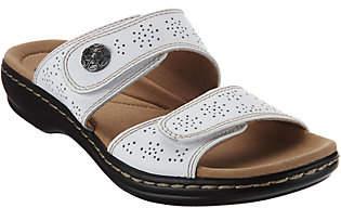 Clarks Leather Double Adjust Slide Sandals -Leisa Lacole