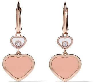 Chopard 18kt rose gold Happy Hearts diamond drop earrings