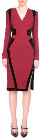 AltuzarraAltuzarra Becca Long-Sleeve Two-Tone Dress, Burgundy