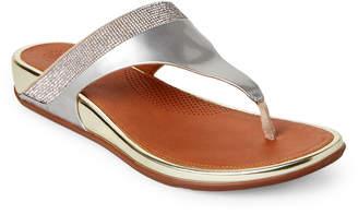 FitFlop Silver & Gold Banda Crystal Thong Sandals