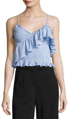 Cinq à Sept Mara Smocked Ruffled Crop Top, Blue Pattern