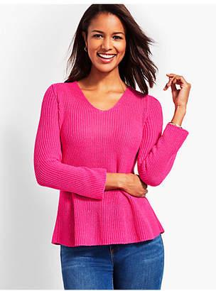 Talbots Shaker-Stitch Flounce Sweater