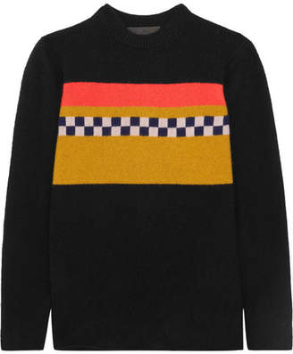 The Elder Statesman Gofa Intarsia Cashmere Sweater - Black