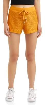 No Boundaries Juniors' crochet lace front drawstring soft short