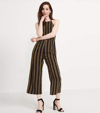 Dynamite Halter Neck Jumpsuit - FINAL SALE BLACK/TAN STRIPES