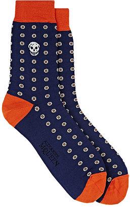 Alexander McQueen Men's Embroidered Cotton-Blend Mid-Calf Socks $70 thestylecure.com
