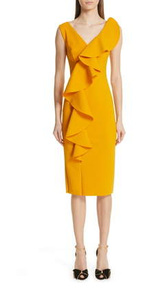 Chiara Boni Janka Ruffle Midi Cocktail Dress
