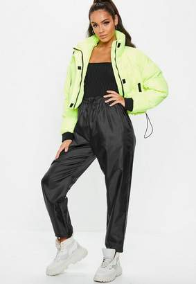 Missguided Black Tie Waist Reflective Joggers