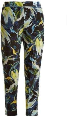 Erdem Giulia Night Bird Print Silk Cropped Trousers - Womens - Yellow Print