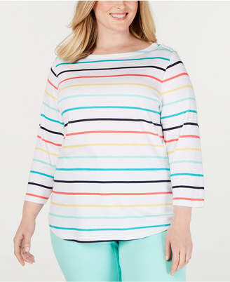 Charter Club Plus Size Cotton Striped 3/4-Sleeve Top