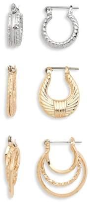 BP Assorted 3-Pack Textured Mini Hoop Earrings
