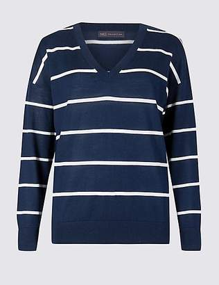 M&S Collection Pure Merino Wool Striped V-Neck Jumper