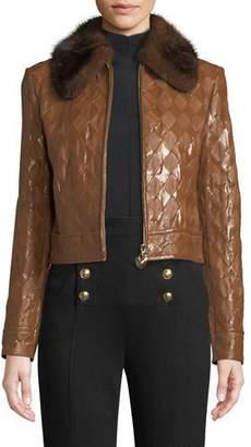 Escada Mink-Collar Zip-Front Diamond-Stitch Crop Leather Jacket