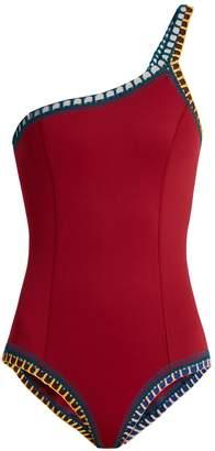 Kiini Soley one-shoulder crochet-trimmed swimsuit