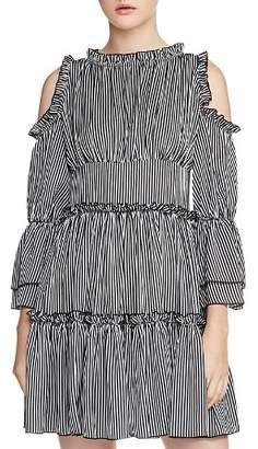 Maje Radise Tiered Cold-Shoulder Dress