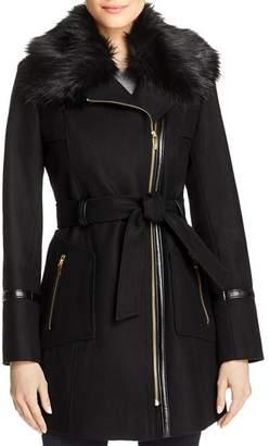 Via Spiga Faux Fur-Collar Asymmetric Belted Coat