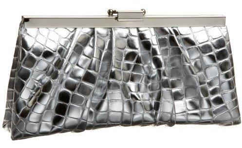 Jessica McClintock Metallic Croc Frame Clutch
