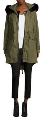Derek Lam Fox Fur-Trimmed Anorak Coat