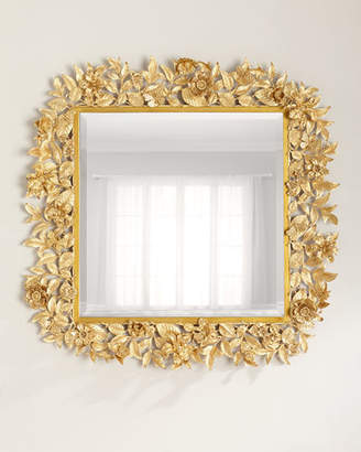 "Jay Strongwater Composition Floral Leaf Mirror, 42""Sq."