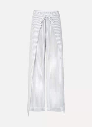 Chloé Belted Layered Pinstriped Silk Wide-leg Pants - Ivory