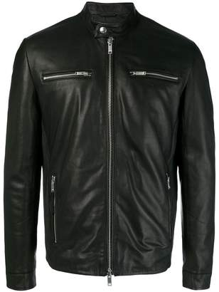 Dondup zip detail leather jacket