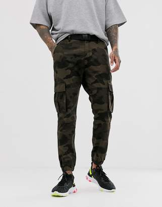 Bershka cargo joggers with belt in camo