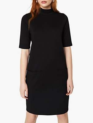 Warehouse Oversized Ponte Dress, Black