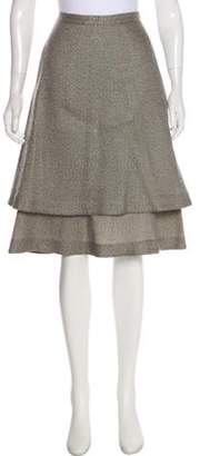Co Knee-Length Tiered Skirt Grey Knee-Length Tiered Skirt