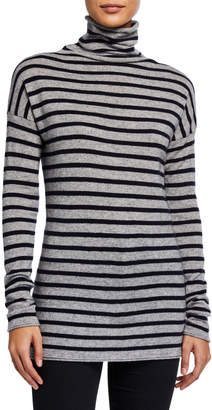 Vince Striped Turtleneck Wool\/Cashmere Tunic