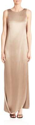 Halston Crepe & Satin Draped Gown