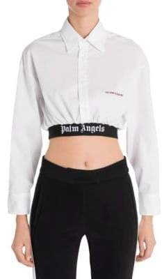 Palm Angels Cropped Classic Logo Band Shirt