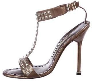 Manolo Blahnik Leather Strap Studded Sandals