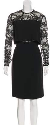 Elie Saab Lace-Trimmed Sheath Dress Black Lace-Trimmed Sheath Dress