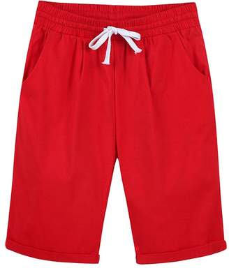 8167260c00 Etecredpow Womens Casual Elastic Waist Drawstring Plus Size Bermuda Shorts L