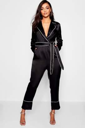 boohoo Tall Pyjama Style Belted Satin Culotte Jumpsuit