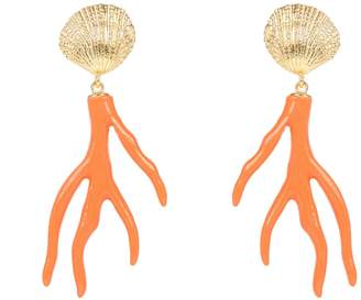 Latelita - Scallop Shell Coral Drop Earring Gold Orange