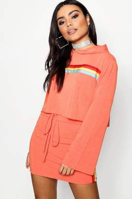 boohoo Sports Stripe Bell Sleeve Cropped Hoody