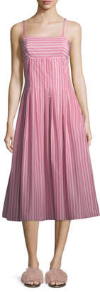 Rosetta Getty Square-Neck Sleeveless Striped Shirting Midi Dress