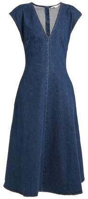 Stella Mccartney - Ella V Neck Fluted Denim Dress - Womens - Dark Denim