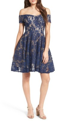 Women's Soprano Lace Off The Shoulder Fit & Flare Dress $69 thestylecure.com