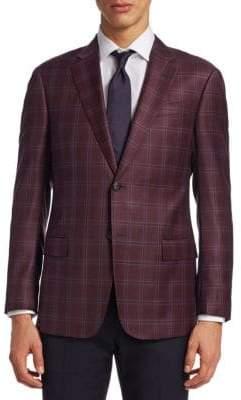 Giorgio Armani Raspberry Wool Plaid G Line Sportcoat