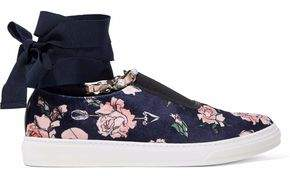 Mother of Pearl Lace-Up Floral-Print Velvet Slip-On Sneakers