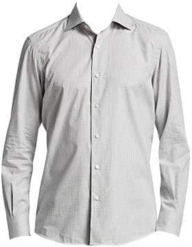 Ermenegildo Zegna Men's Melange Check Button-Down Shirt - Silver - Size XL