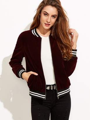 Shein Varsity Striped Velvet Bomber Jacket