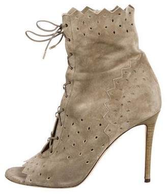 Jimmy Choo Laser Cut Lace-Up Booties