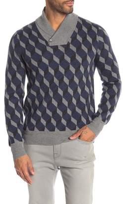LOFT 604 Diamond Pattern Shawl Collar Wool Sweater